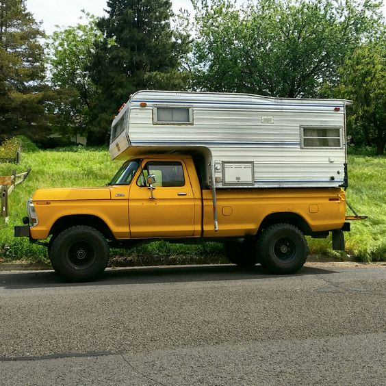 rusty-ford:  Picked this slide in camper up for 300 bucks. It's got a few things that need repair, but overall it's in good shape. I can't wait to get it all spruced up and get my stuff in there. I think maybe I'll just live in it this summer. Why not?