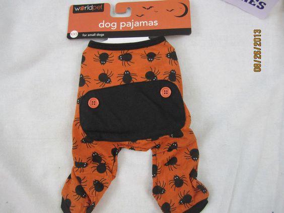 Dog Pajamas Halloween Pajamas Spiders Orange & Black Faux Back Flap Costume New #WorldPet