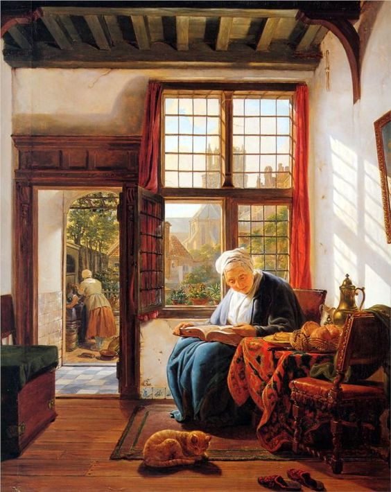 Reading old woman at window. Abraham van Strij (1753–1826), Netherlands painter.: