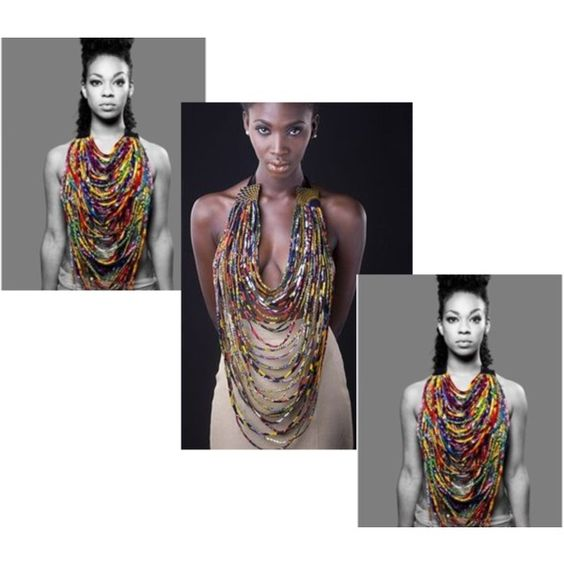 """""""African Print NeckLace @ Tswana designs"""" by introducing-neo on Polyvore"""