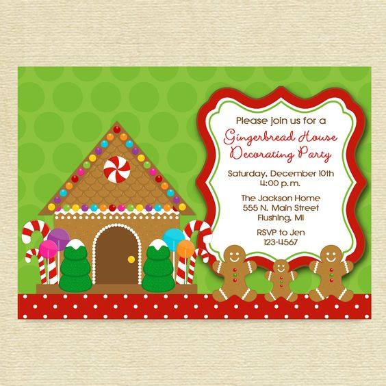 Gingerbread houses gingerbread and printable invitations Gingerbread house decorating party invitations