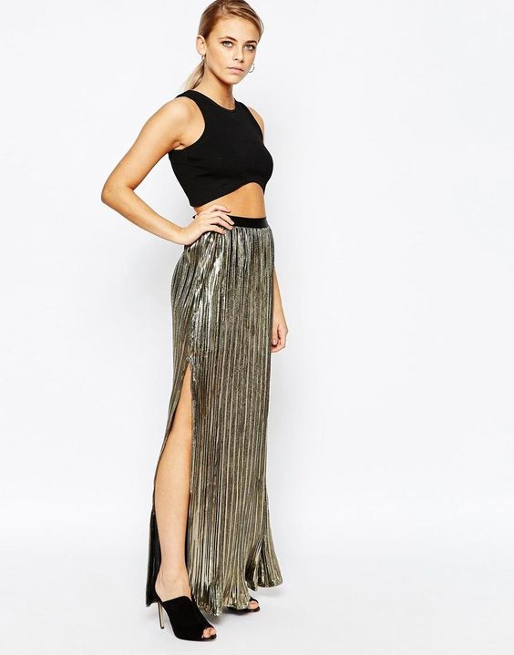 Boohoo | Boohoo Metallic Pleated Side Split Maxi Skirt at ASOS