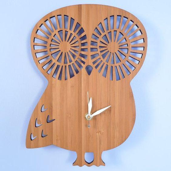 Handmade Bamboo Wall Clock, Owl