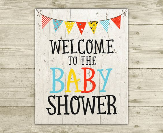 CoEd Baby Shower  Welcome Sign  INSTANT by CelebrateBabyCo on Etsy