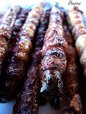 Pretzel rods, Bacon wrapped and Pretzels on Pinterest