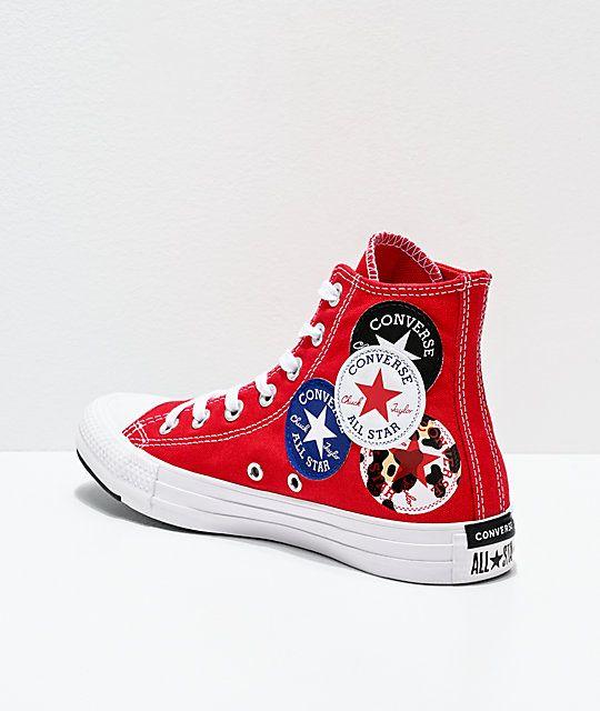 Converse Chuck Taylor All Star Hi Multi Logo Red Shoes Zumiez In 2020 Chuck Taylors Converse Red Shoes