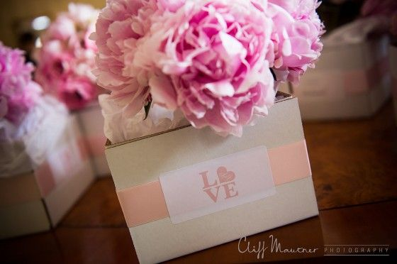 Pink Peonies and Ranunculus with the Love Statue Motif Stickers {Design: TableArt   Photo: Cliff Mautner Photography}