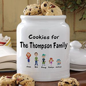 Turn each family member into a cute cartoon character and have them displayed on this adorable cookie jar! Great gift idea and super affordable! #personalized #cookies