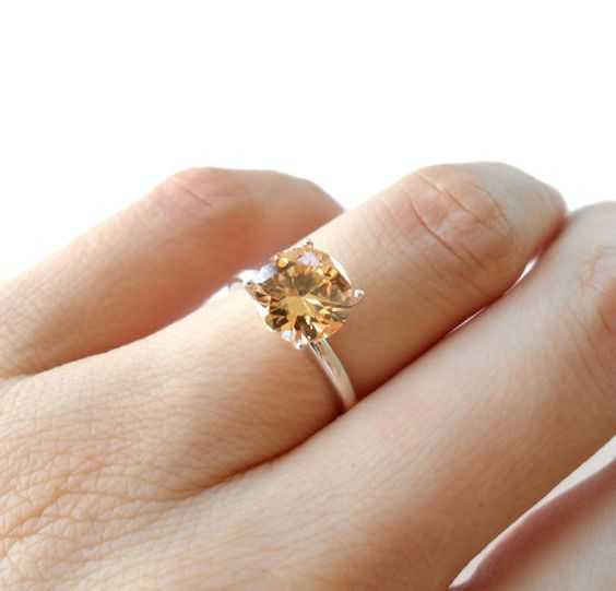 2 carat Champagne Yellow DIAMOND ENGAGEMENT RING, 4 sizes available, Man  Made, Wedding