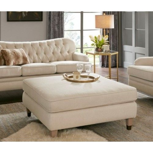 Linen Color Large Square Coffee Table Ottoman Upholstered