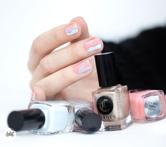 Nail art featuring Cirque Colors LOX AND SABLE, WHITNEY, MEET ME IN MONTAUK and CIN CIN