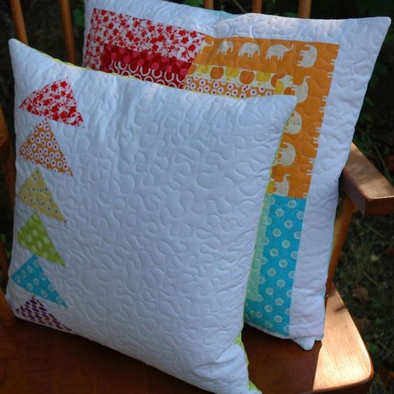 Modern Quilted Pillow Covers : Bright Modern Flying Geese Quilted Pillow Cover Gossip news, Cushions and Flying geese
