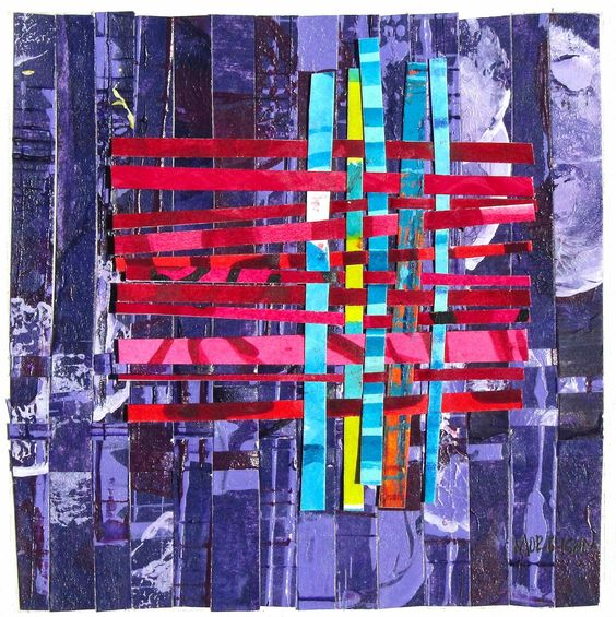 Using 2-4 painted abstract pictures, cutting them up in strip and using them to create a new artwork by weaving the pieces. Would be fun to have the whole class create the papers, then I would cut it up and sort them by colors scheme. It would become a collaborative artwork.: