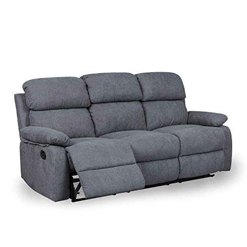Decoinparis Canape Relax 3 Places En Tissu Keaton Gris Fonce Canape Relax Canape Canape Angle