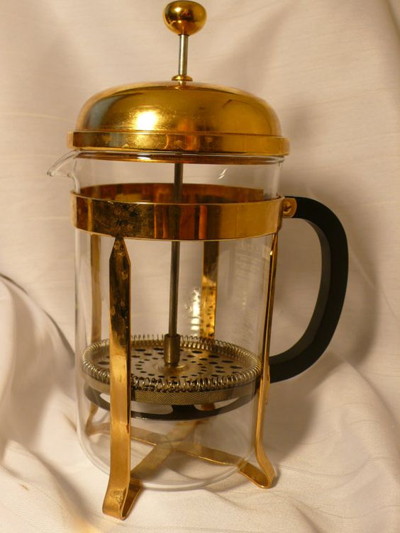 Gold French Press Coffee Maker : Vintage 1980 s Bodum Chambord 12 cup French Press Coffee Maker, 51 oz, Gold Vintage, French ...