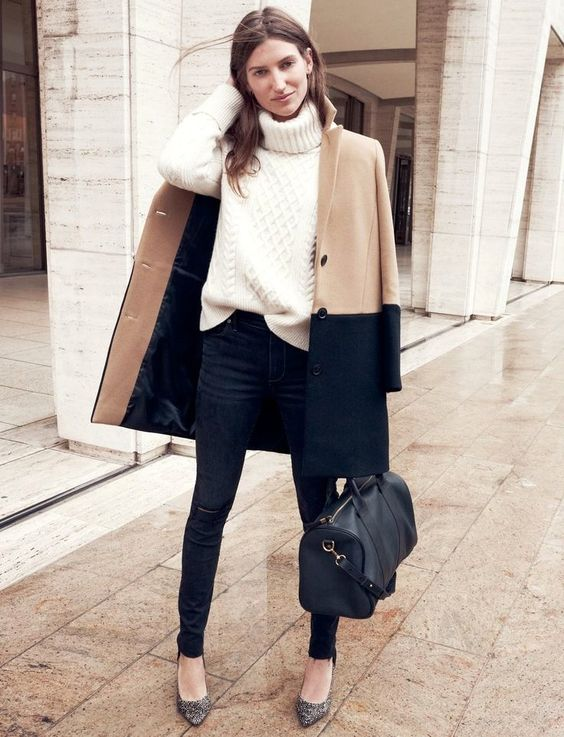 Want coat!! Parisian Cool | Sézane x Madewell Get the look: + Colorblock Streetcar Coat + Cityblock Turtleneck Sweater + Madewell Rings + Madewell et Sézane Nola Satchel + High Riser Skinny Skinny Cut-Edge Jeans + The Maddie Heel in Speckle