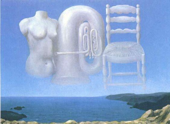 荒れそうな天気(空模様) (1931-32) 雲でできた楽器など。「威嚇的な時間に同」じ。 カンヴァス、油彩 54×73cm ロンドン ローランド・ベンローズ蔵