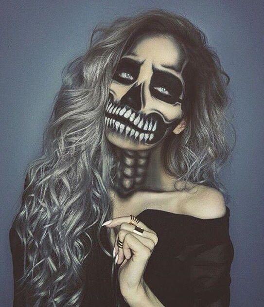 Halloween Makeup Full Face Skeleton Gray Hair DIY Costumes