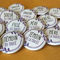 """Badges mariage violet, mauve, collection """"aquarelle feuilles"""", pour témoins, parents, famille mariés etc"""