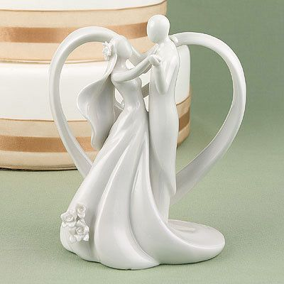 """Wedding Cake Toppers Heart Arch Bridal Couple Figurine - 6"""" tall"""