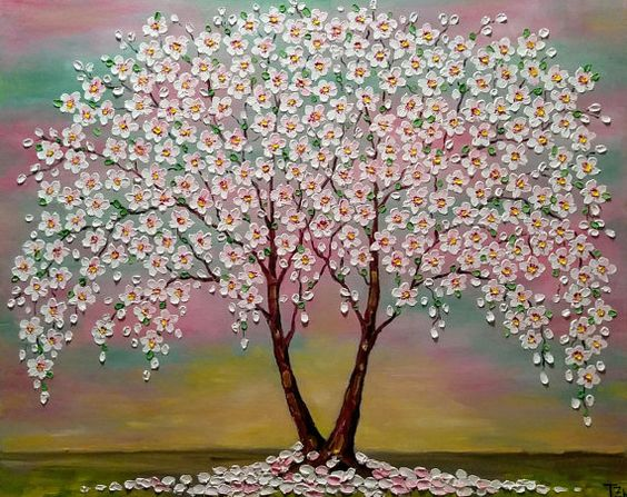 "Cherry Blossom Trees ""Colorful"" *FREE SHIPPING * Original oil impasto painting  on Stretched Canvas"