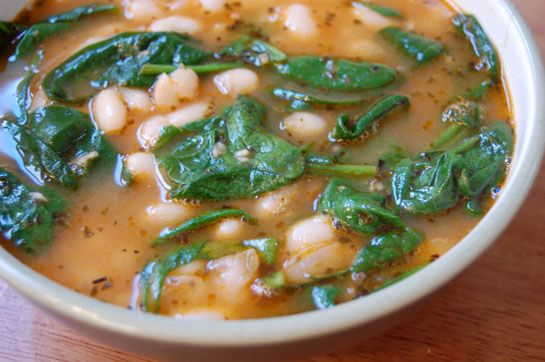 garlicky white bean soup with dark greens -- photo and recipe from the nourishing gourmet