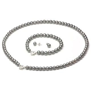 Grey FW Pearl 3-piece Jewelry Set with White Leatherette Box (6-7 mm) | Overstock.com