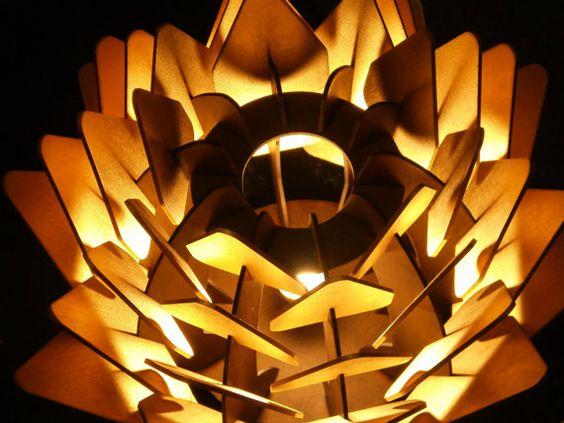 cynara table lamp geometric wood sculpture accent por sectorxero madera luz pinterest. Black Bedroom Furniture Sets. Home Design Ideas