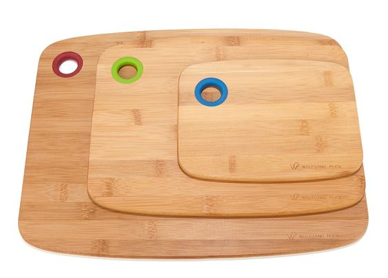 This cutting board set by Wolfgang Puck includes three versatile sizes for every kitchen cutting task from prep work to carving. They even have built-in hanging holes!