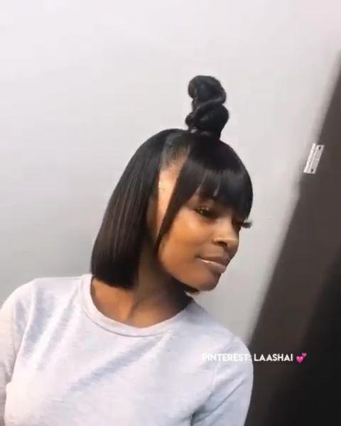 Bun With Bangs Weave : bangs, weave, Fringe, #bangs, #half, #down, #knot, #wHalf, BangsHalf, Hairstyles,, Hair,, Weave, Hairstyles