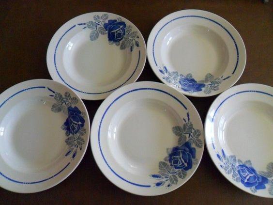 Lot 5 Assiettes Creuses Anciennes BADONVILLER Rose Bleu