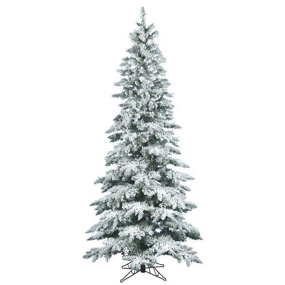 Vickerman 7.5Ft. Flocked White on Green 1019 Tips Christmas Tree