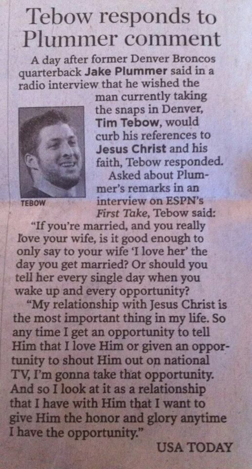 Tim Tebow is a great example