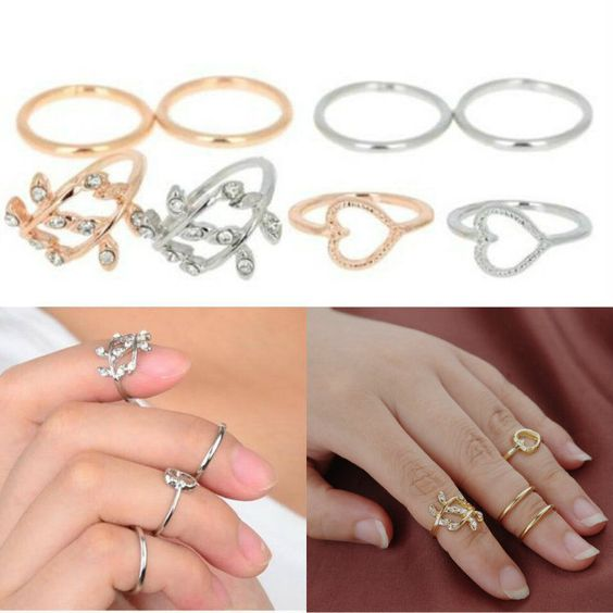 4pcs Set Fashion Pretty Heart-shaped Leaves Tail Ring Chic Rings Jewelry #Unbranded #KnuckleRing