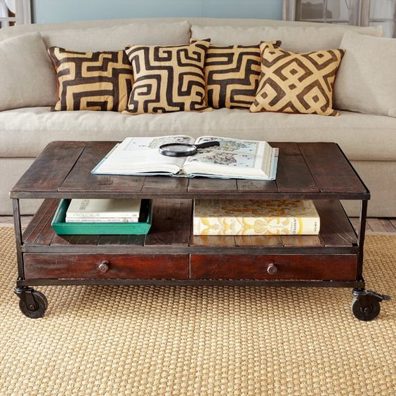 French Industrial Coffee Table -- Wisteria