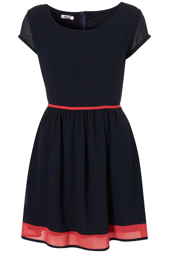 Navy with pink trim. :)
