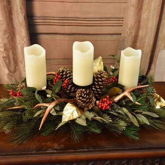 Winter Centerpiece with Magnolia Leaves and Antlers