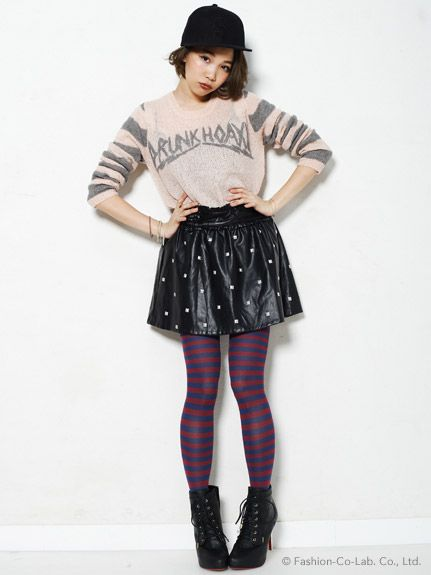 Candy Stripper / DRUNK HOAX KNIT TOPS  ( Japanese Fashion )