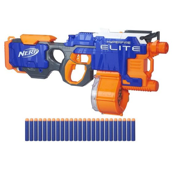 There's a Nerf toy that landed on Walmart's Hottest 25 Toys of 2016 list. The Nerf N-Strike Elite HyperFire Blaster is an automatic Nerf gun that allows kids to shoot up five bullets per second.