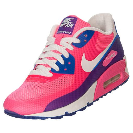 The Women\u0026#39;s Nike Air Max 90 Hyperfuse Premium Running Shoes - 454460 600 - Shop Finish Line today! Pink Flash/Hyper Blue \u0026amp; more colors.