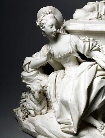 """Detail from """"Le Jaloux""""; soft-paste biscuit porcelain  Vincennes, 1756:"""