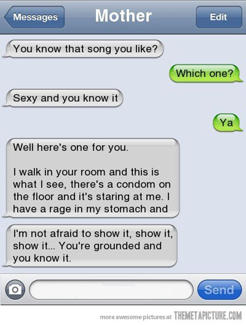 ohhhh -- mom texts her son…