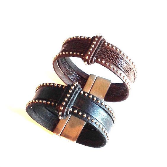 Studded leather cuffs by Mack & Jane