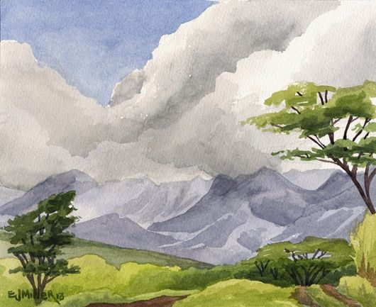 Mountain View from Three Corner Ranch - Hawaiian artwork by Emily Miller
