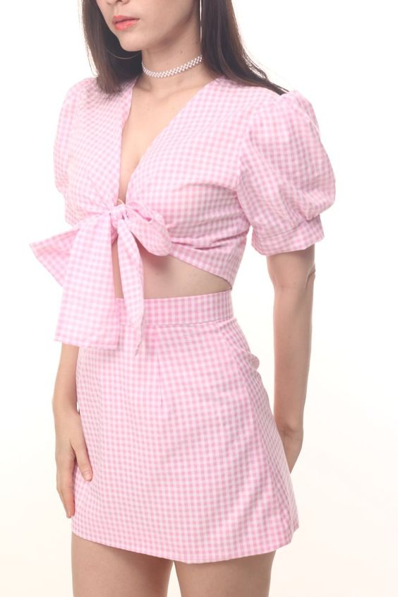 Emily Set in Pink Gingham | Glitters For Dinner