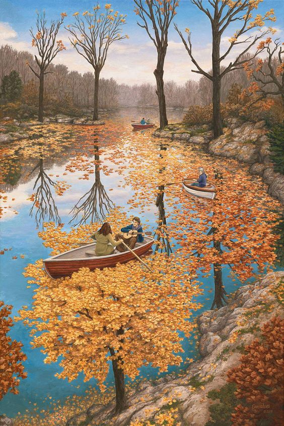 Optical Illusions narrativas pintadas por Rob Gonsalves | Colosal