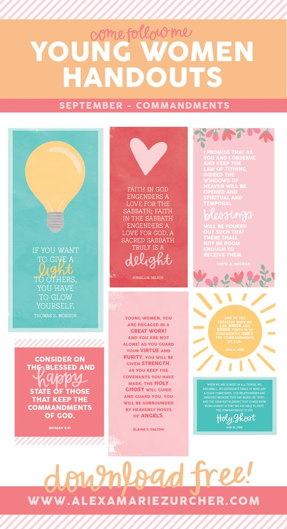 September Young Women Lesson Handouts and Free Printables - He and I