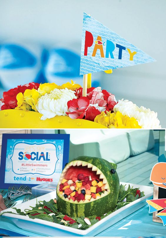Watermelon Shark's Mouth Fruit Salad and Party Decorations from the Huggies #LittleSwimmers Pool Party Playdate