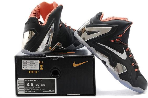 Nike Lebron 11 White Black Grey Orange1