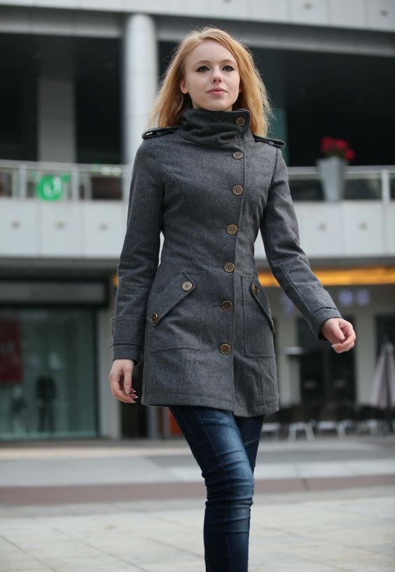Dark Grey Fitted Cashmere Coat Military Jacket Winter Wool Coat